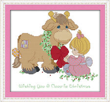 Cross Stitch Kit 11CT Count Pattern of Christmas Greeting Printed or Unprinted
