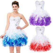WhiteღEvening Homecoming Party Cocktail Formal Short Bridesmaid Puffy Prom Dress
