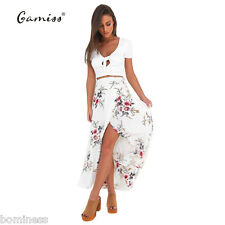 Gamiss Sexy High Waist Asymmetrical Side Split Floral Long Chiffon Beach Skirts
