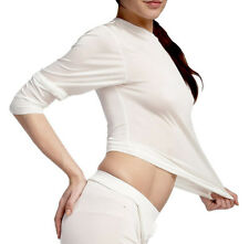 Womens Steiner Pure Silk Long Sleeve Ski Base Layer Thermal Top White