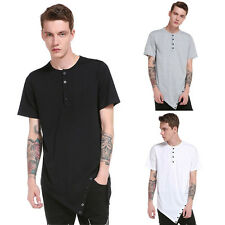 4 Color Casual Men's Button Neck Tops Shirt Slim Fit Short Sleeve Summer Tee