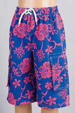 BOYS BLUE AND PINK PATTERNED BOARD/SWIM SHORTS IN SIZE 7-8  BNWT