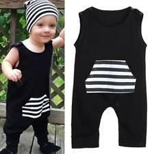 Newborn Infant Baby Boys Cotton Romper Toddler Jumpsuit Bodysuit Clothes Black