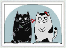 The Cats in Love Counted Cross Stitch Kit - 16''X11'' 14 Count and 11 Count