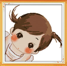 The Cute Girl Counted Cross Stitch Kit - 15''X15'' 14 Count and 11 Count