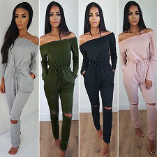Women Off Shoulder Long Sleeve Playsuit Ripped Pants Jumpsuit Romper Overall