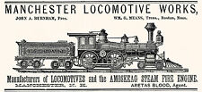 1882 Manchester Locomotive Works Art Print Train Amoskeag Steam Fire Engine