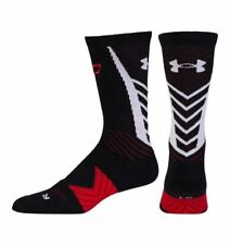 UNDER ARMOUR UA Undeniable Curry BLACK White Basketball Crew Socks NEW Mens M