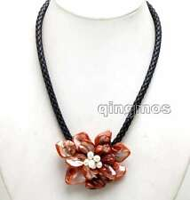 SALE 70mm Red  Baroque Shell Pearl Flower pendant & Rope 18'' Necklace-n6316