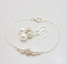 Glass pearl & Silver Diamante Ball Chain Bracelet Bridesmaid Gift With Earrings