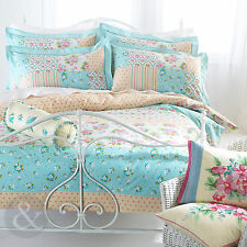 Floral Polka Dot Patchwork Duvet Cover - Luxury 100% Cotton Yellow Blue Bed Set