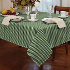 Gingham Check Kitchen Table Cloth - Traditional Dining White & Green Tablecloth