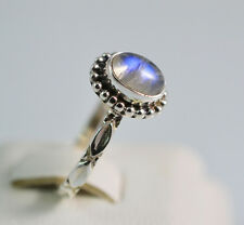 Pure 925 Solid Sterling Silver Genuine Rainbow Moonstone Handmade Ring Size 4-13
