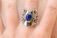 Lapis Lazuli Silver Ring 925 Solid Sterling Silver Handmade Ring Size 3 -13 US