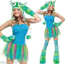 Ladies Sexy 4 Piece Green Blue Halloween Monster Rave Fancy Dress Costume Outfit