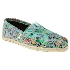 New Womens Toms Blue Multi Classic Leather Shoes Espadrilles Slip On