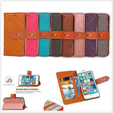 Classical Embossed Wallet Leather Flip Button Case Cover Stand For Mobile Phone