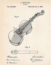 Berliner 1881 Violin Drawing Patent Art Print Gifts Presents For Violinists