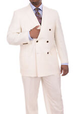 Apollo King Solid Off White Cream 6-on-2 Double Breasted Super 150's Wool Suit