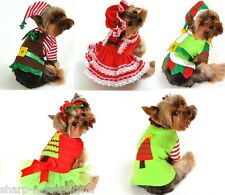 Pet Dog Cat Christmas Santa Elf Gift Fancy Dress Costume Outfit Clothes XS-XL