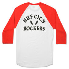 "HUF ""Rockers Raglan"" T-Shirt (White/Red) Men's Graphic 3/4 Bolt Baseball Tee"