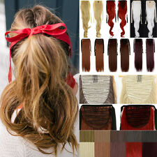 """UK 18""""-23"""" Ponytail Drawstring Clip in Hair Extensions Extension Long Layered H3"""