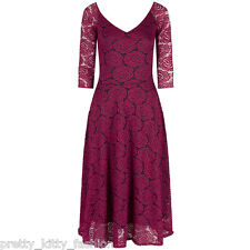 Pretty Kitty Fashion 50s Vintage Magenta 3/4 Sleeve Lace Cocktail Party Dress