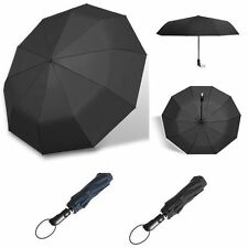 10 Ribs Strong Automatic Travel Umbrella Compact Folding Rain Windproof Anti-UV
