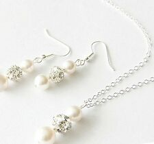 Luxury Glass Pearl & Rhinestone Ball AAA Bead Wedding Necklace Chain & Earrings