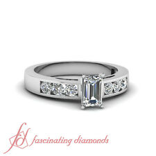 .70 Ct Emerald Cut:Ideal Diamond Dainty Shimmer Engagement Ring SI1-E Color GIA