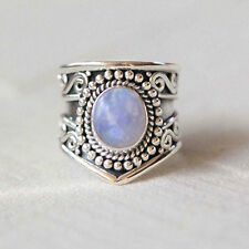 Blue Rainbow Moonstone 925 Solid Sterling Silver Handmade Ring Size 3-14