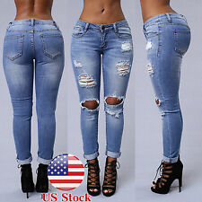 Womens High Waist Ripped Destroyed Skinny Denim Jeans Pencil Pants Slim Trousers
