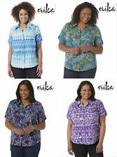 NWT 1X/2X/3X Plus Erika Short Sleeve Button Down Camp Shirt Top Blouse Blue New!