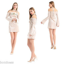 Velvet Embroidery Series Women Boat Neck with Appliques Bell Sleeve Mini Dress