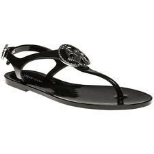 New Womens Armani Jeans Black Diamante Logo Jelly Sandal Rubber Sandals Flats