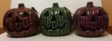 "8"" Jack-o-lantern Face Crackled Black Plastic Lighted Pumpkin Decor UL Corded"
