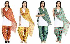 Patiala Salwar Dupatta Set Ethnic Free Size Cotton Ladies Salwar Pants & Scarf