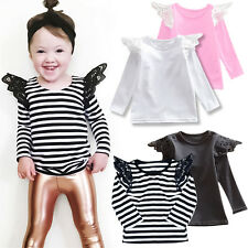 Toddler Baby Kid Girls Lace Long Sleeve T-shirt Top Casual Blouse Cotton Clothes