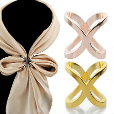 Scarf Ring Buckles Fashion Silver Brooch Gift Electroplate Pins for Silk Scarves