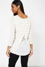 NEW White Striped Top With Chiffon Back Spring Fashion 2017 Womens Ladies Casual
