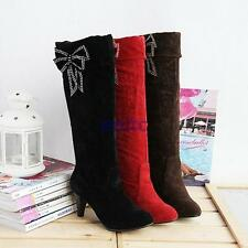Womens Faux Suede Cuffed Knee High Pull On Knight Boots Causal Bowknot Shoes AU