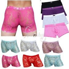 Sexy Men's Lingerie Sheer Lace Boxer Briefs Sissy Pouch Panties Gay Underwear