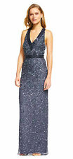 Adrianna Papell Sequin Beaded Halter Dress With Criss Cross Tulle Back