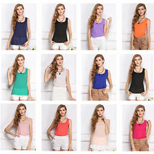 Summer Women Ladies Candy Color Chiffon Sleeveless Vest Casual Tank Tops