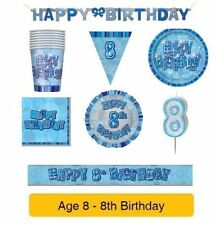 AGE 8 - Happy 8th Birthday BLUE GLITZ - Party Balloons, Banners & Decorations