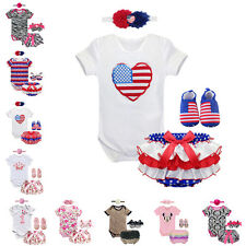 4PCS Baby Short Sleeves One-piece Romper Jumpsuit Pants Shoes Headband Outfits