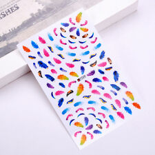 Feather 3D Nails Art Manicure Stickers Decal Water Transfer Beautiful DIY