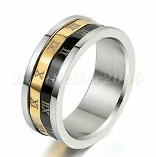Men Women Double Layer Roman Numeral Stainless Steel Wedding Ring Band Size 7-11