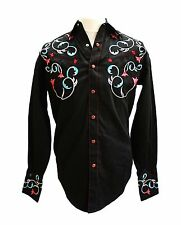 Rockmount Black Art Deco Tulips and Horse Shoe Embroidered Western Cowboy Shirt