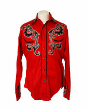 Rockmount Red Tattoo Embroidered Western Cowboy Shirt